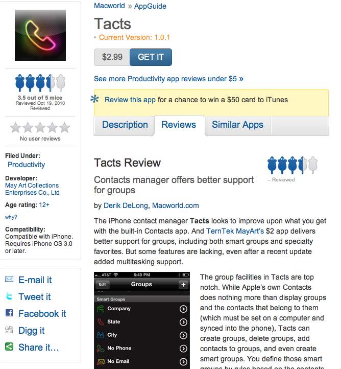 Macworld Tacts Review: Contacts manager offers better support for groups 3.5/5 mice